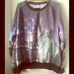 New York graphic factory faded sweatshirt mens L